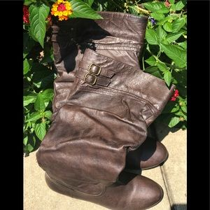 Nine West Brown Double Buckle Boots Size 7 Medium